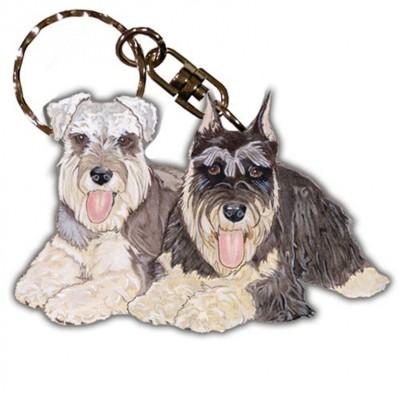 Schnauzer Wooden Dog Breed Keychain Key Ring