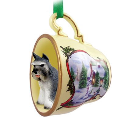 Schnauzer Dog Christmas Holiday Teacup Ornament Figurine Gray