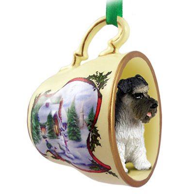 Schnauzer Dog Christmas Holiday Teacup Ornament Figurine Gray Uncrop