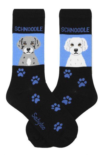 Schnoodle Socks on Blue Background