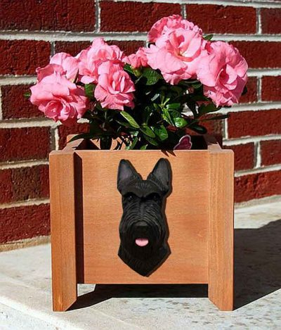 Scottish Terrier Planter Flower Pot Black 1