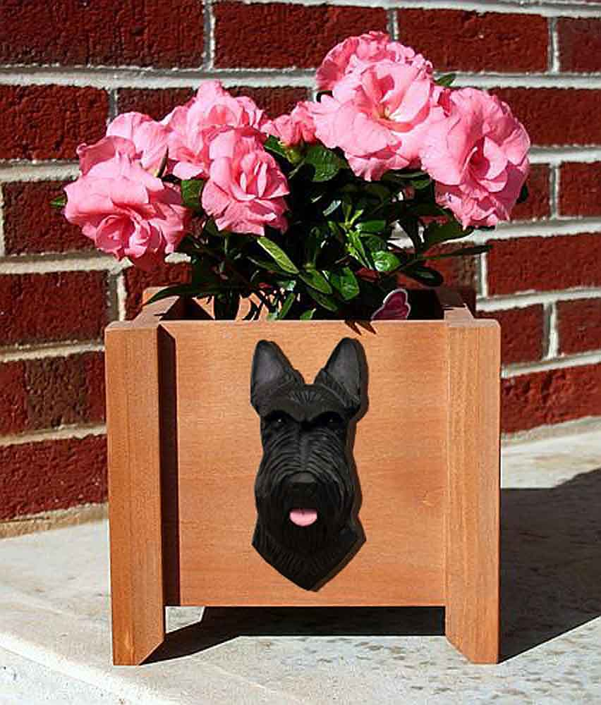 Scottish Terrier Planter Flower Pot Black