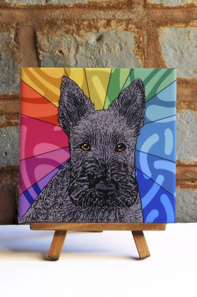 Scottish Terrier Black Colorful Portrait Original Artwork on Ceramic Tile 4x4 Inches