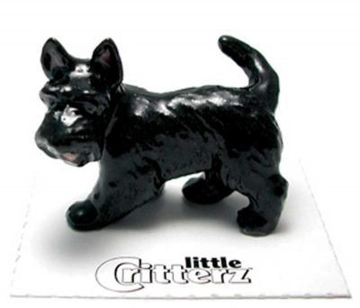 Scottish Terrier Hand Painted Porcelain Miniature Figurine