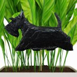 Black Scottish Terrier Figure Attached to Stake to be Placed in Ground or Garden