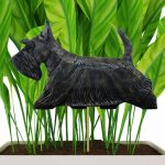Brindle Scottish Terrier Figure Attached to Stake to be Placed in Ground or Garden
