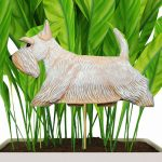 White Scottish Terrier Figure Attached to Stake to be Placed in Ground or Garden