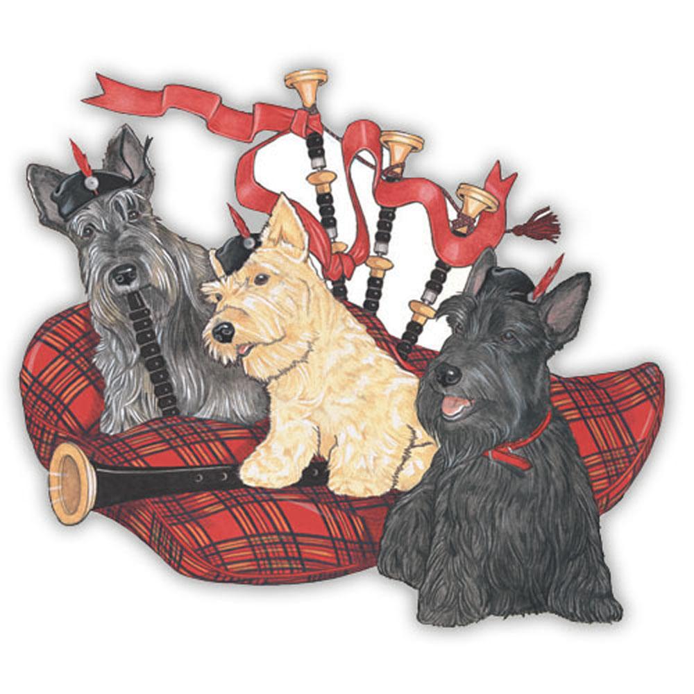 Scottish Terrier Wooden Magnet Family