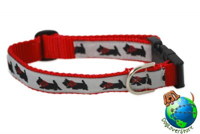 Scottish Terrier Dog Breed Adjustable Nylon Collar Medium 10-16″ Red 1