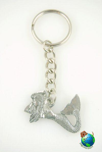 Sea Mermaid Keychain Key Chain Ring Fine Pewter Silver