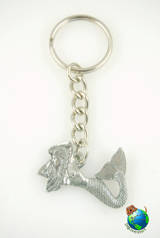 Sea Mermaid Keychain Key Chain Ring Fine Pewter Silver