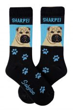 Shar Pei Brown Socks - Blue and Black in Color