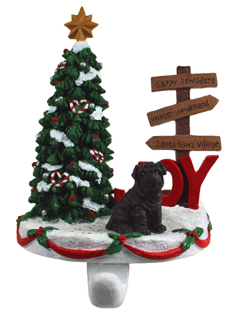 Shar Pei Stocking Holder Hanger Black
