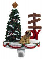 Shar Pei Stocking Holder Hanger Cream