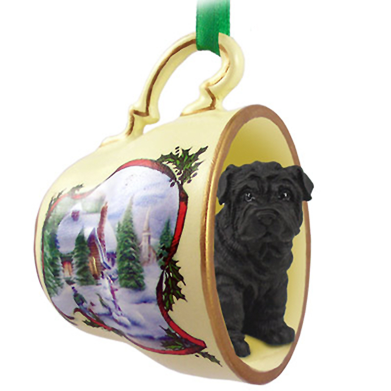 Shar Pei Dog Christmas Holiday Teacup Ornament Figurine Black
