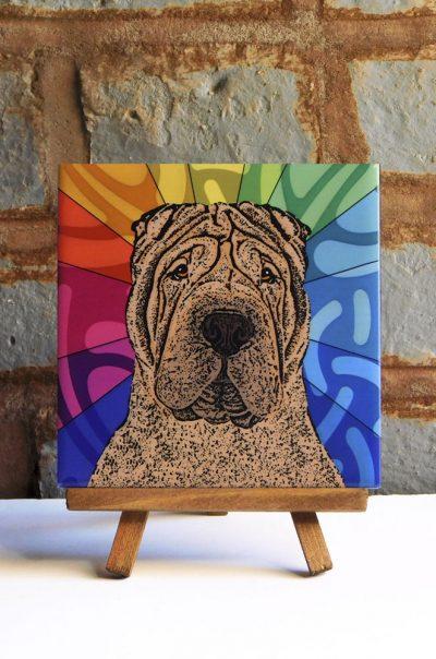 Shar Pei Brown Colorful Portrait Original Artwork on Ceramic Tile 4x4 Inches