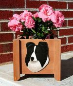 Sheltie Planter Flower Pot Bi Black