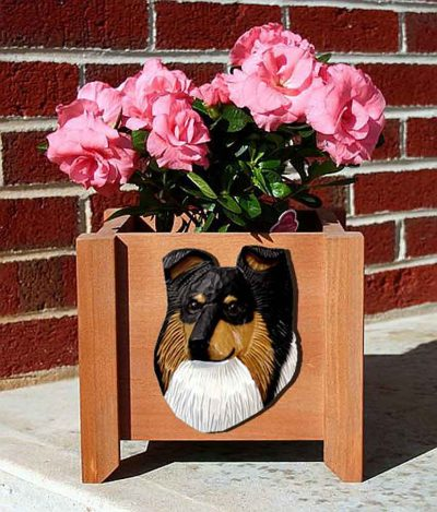 Sheltie Planter Flower Pot Tri 1