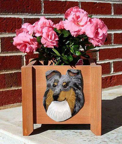 Sheltie Planter Flower Pot Blue Merle 1