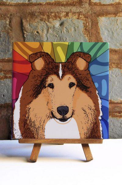 Sheltie Sable Colorful Portrait Original Artwork on Ceramic Tile 4x4 Inches