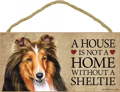 Sheltie Wood Dog Sign Wall Plaque 5 x 10 + Bonus Coaster 1