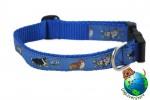 "Sheltie Dog Breed Adjustable Nylon Collar Medium 10-16"" Blue"