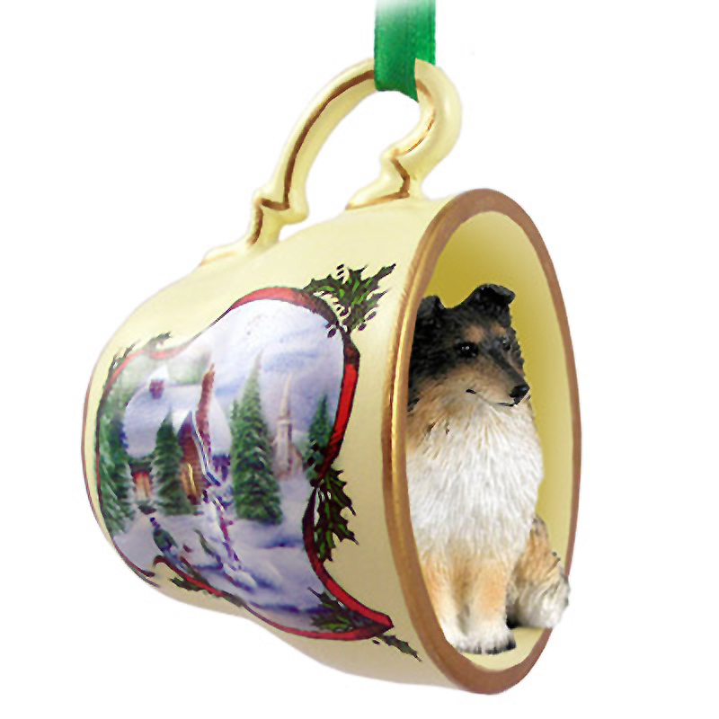 Sheltie Dog Christmas Holiday Teacup Ornament Figurine Tri Color