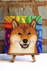 Shiba Inu Colorful Portrait Original Artwork on Ceramic Tile 4x4 Inches