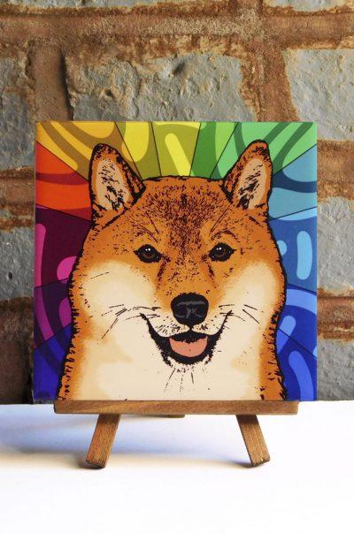 Shiba Inu Colorful Portrait Original Artwork on Ceramic Tile 4x4 Inches