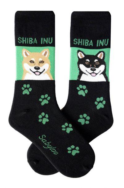 Shiba Inu Brown/White & Black/White Socks - Green and Black in Color