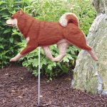 Shiba Inu Garden Stake Outdoor Sign Red