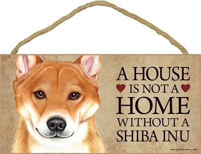 Shiba Inu Wood Dog Sign Wall Plaque Photo Display 5 x 10 - House Is Not A Home + Bonus Coaster
