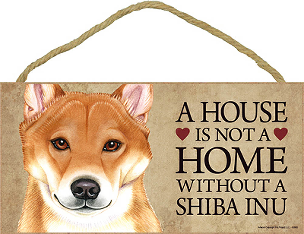 Shiba Inu Wood Dog Sign Wall Plaque Photo Display 5 x 10 - House Is Not A Home + Bonus Coaster