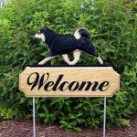 Shiba Inu Outdoor Welcome Garden Sign Black & Tan in Color