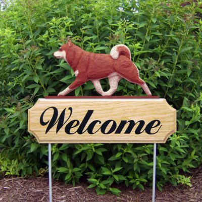 Shiba Inu Outdoor Welcome Garden Sign Red in Color