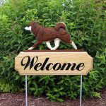 Shiba Inu Outdoor Welcome Garden Sign Brown & White in Color