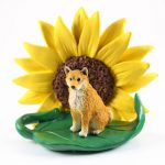 Shiba Inu Figurine Sitting on a Green Leaf in Front of a Yellow Sunflower