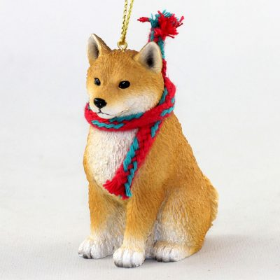 Shiba Inu Dog Christmas Ornament Scarf Figurine 1