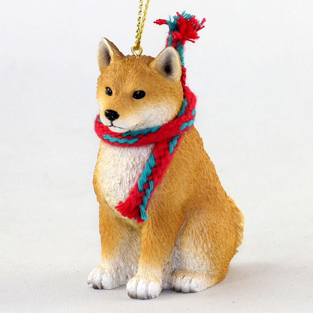 Shiba Inu Dog Christmas Ornament Scarf Figurine