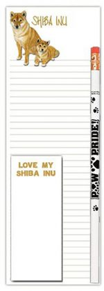 Shiba Inu Dog Notepads To Do List Pad Pencil Gift Set