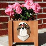 Shih Tzu Planter Flower Pot Brown White 1