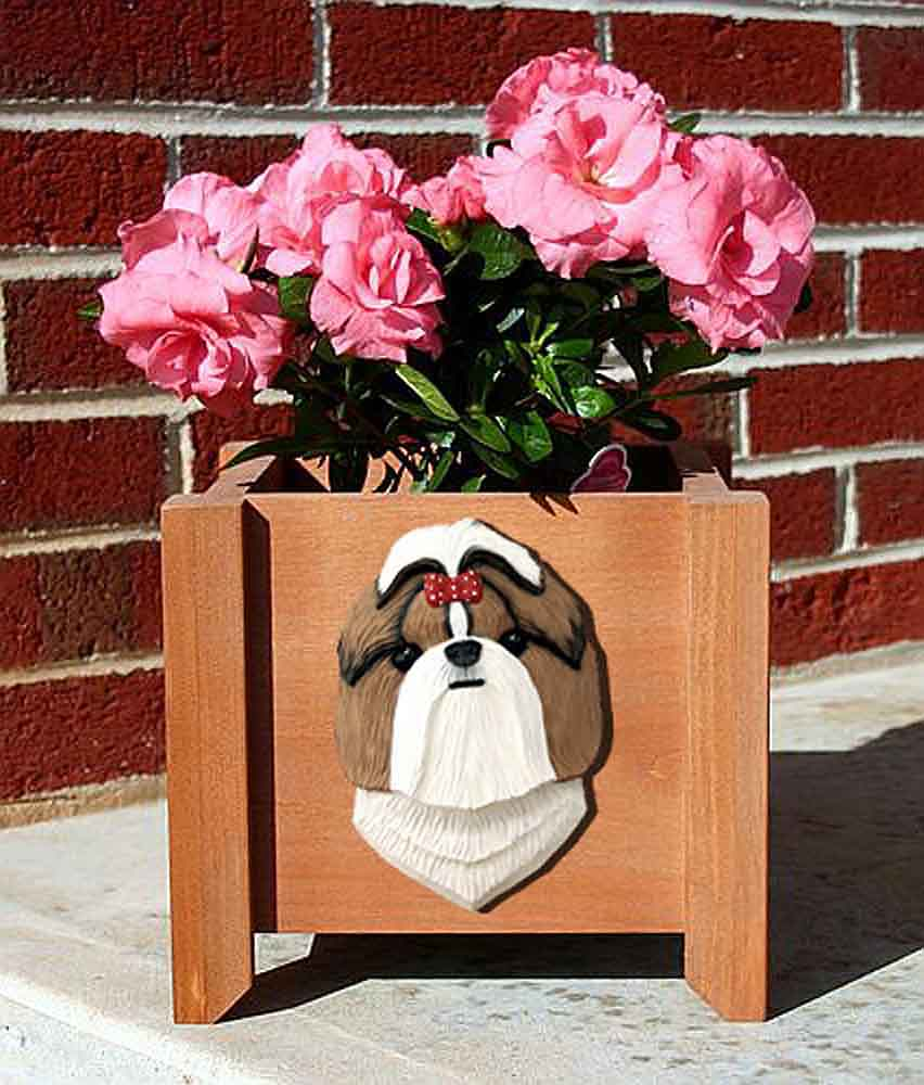 Shih Tzu Planter Flower Pot Brown White