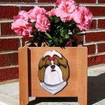 Shih Tzu Planter Flower Pot Gold White 1