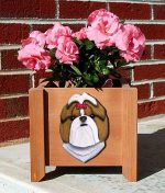 Shih Tzu Planter Flower Pot Gold White