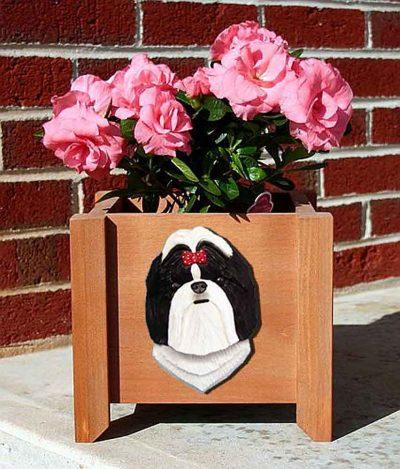 Shih Tzu Planter Flower Pot Black White