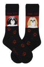 Shih Tzu Black/White & Brown/White Socks - Red and Black in Color