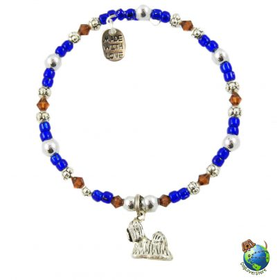 Shih Tzu Beaded Charm Bracelet Silver Handmade