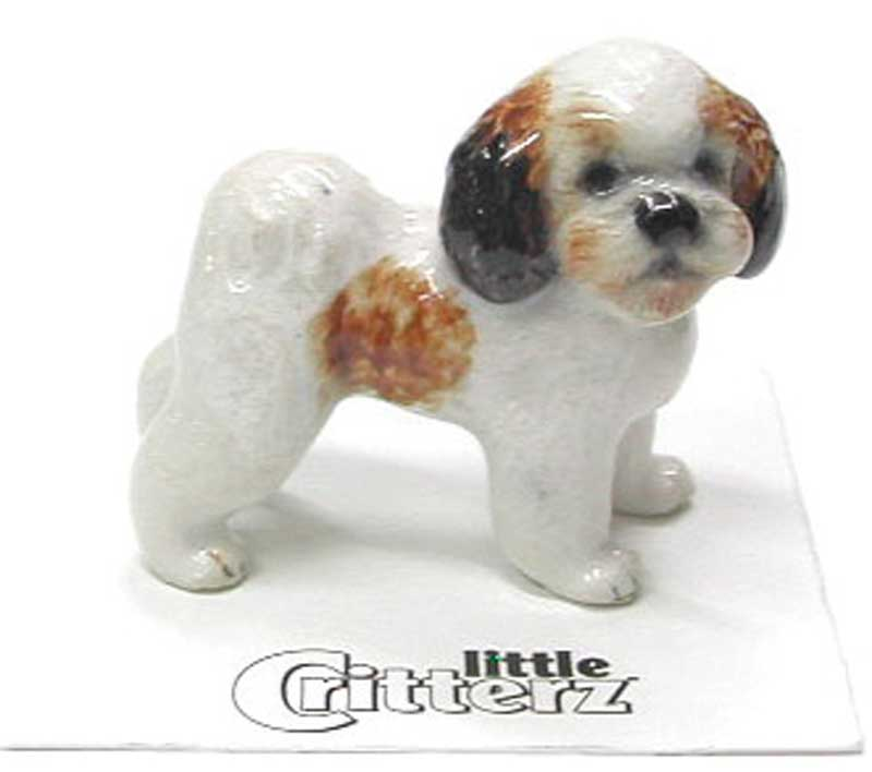 Shih Tzu Hand Painted Porcelain Miniature Figurine