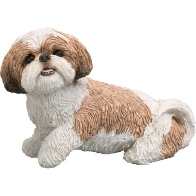 Shih Tzu Sandicast Figurine Original Size - Brown/White