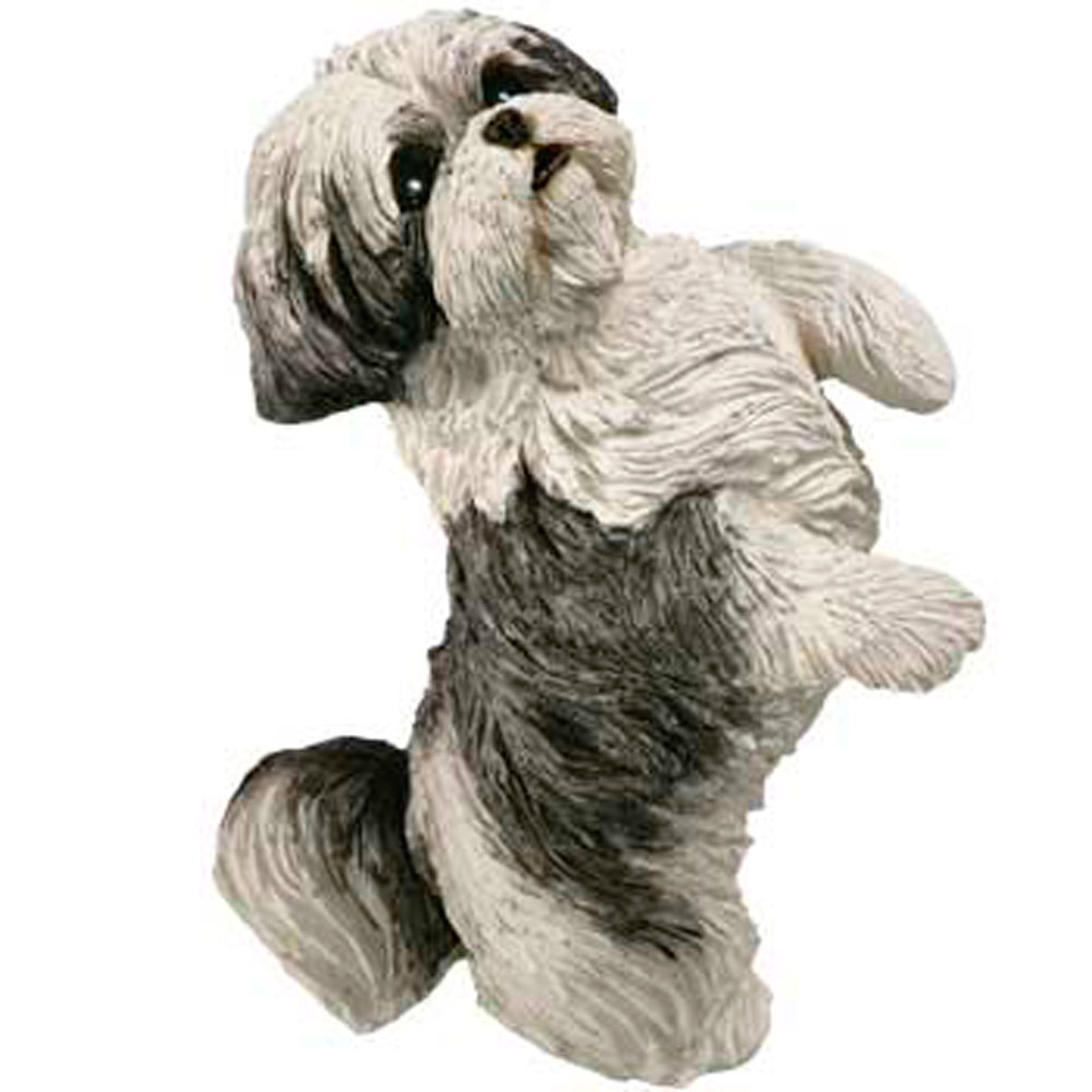 Shih Tzu Figurine Gray White Sandicast